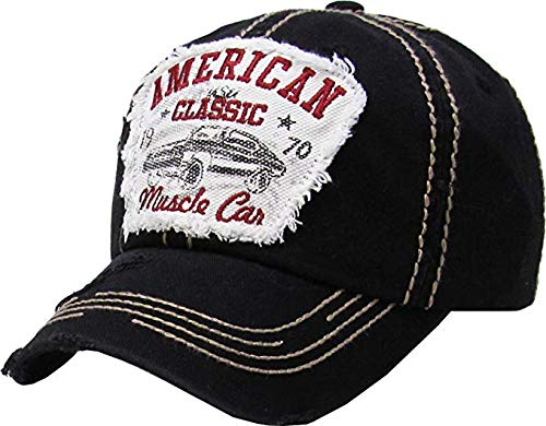BHM-205-ACMC-06 Mens Patch Baseball Cap - American Classic Muscle CAR - Black