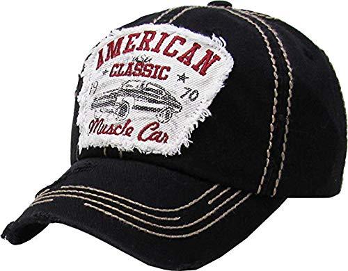 BHM-205-ACMC-06 Mens Patch Baseball Cap - American Classic Muscle CAR - Black