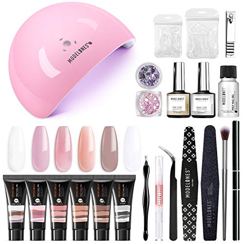 Modelones Poly Extension Gel Nail Kit - 6 Colors with 48W U V/LED Light Nail Lamp Slip Solution Rhinestone Glitter All In One Kit for Nail Manicure Beginner Starter Kit DIY at Home