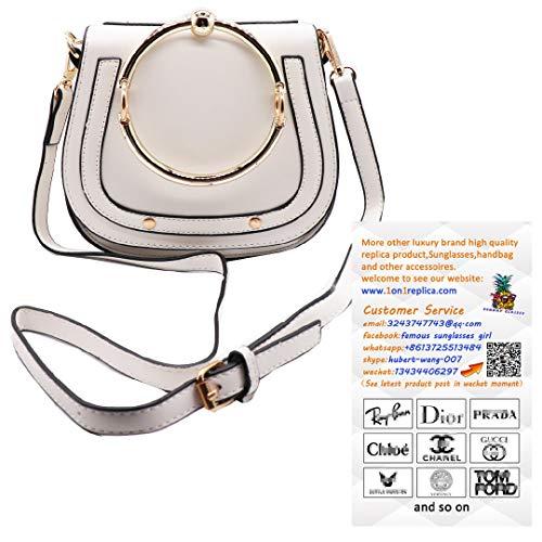 Small Purse Vintage Satchel Round Bracelet Ring Handle for Women PU Leather Cover Hasp Crossbody Saddle Shoulder Bag Rivet Bag-White