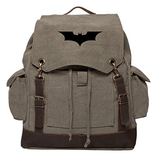 Batman Begins The Dark Knight Rucksack Backpack w/ Leather Straps Olive & Black