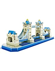 CubicFun 3d Jigsaw Puzzle UK London Architecture Building Model Landmark Kit Gift for Children and Adults, Tower Bridge Big Ben