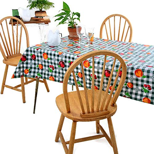 (Gingham and Fruits Oilcloth Tablecloth for Patios, Picnic and Kitchen Tables - Green and White - Plastic Vinyl PVC - Mantel de Plastico (55W X 70L Rectangle))