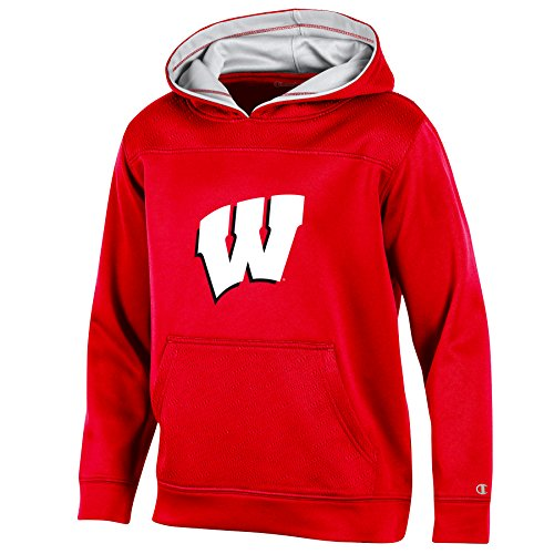 NCAA Wisconsin Badgers Youth Boys Pullover Hood with Contra, Medium, Red (Pullover Badgers Wisconsin)