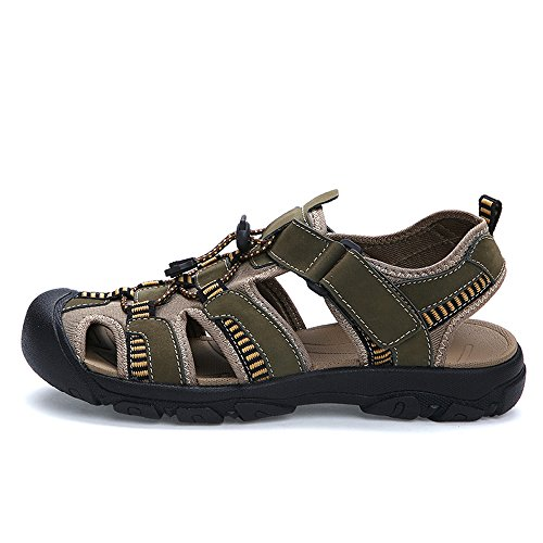 Water Shoes Athletic Hiking Sports Fisherman Mens Leather Outdoor EnllerviiD Sandals Green HqxPaSw1Z