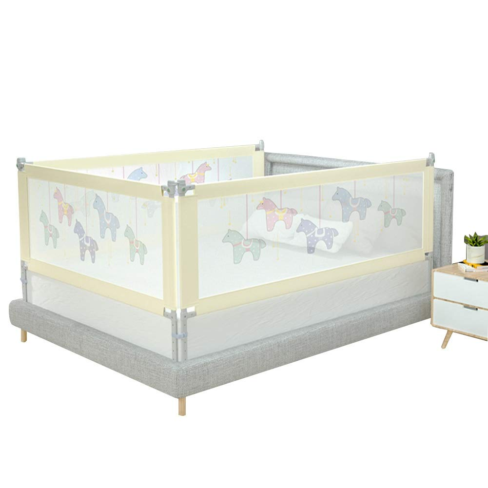 QIANDA 3 Set (2 Length Side and 1 Tail Side) Bed Safety Guardrail Adjustable Height, 4 Colors (Color : Beige, Size : 2m+1.5m+2m)