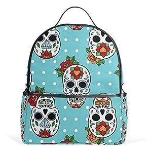Blue Skull Pois Zaino per Donne Ragazze Ragazze Borsa Moda Bookbag Bambini Viaggio College Casual Daypack Ragazzo… 3 spesavip