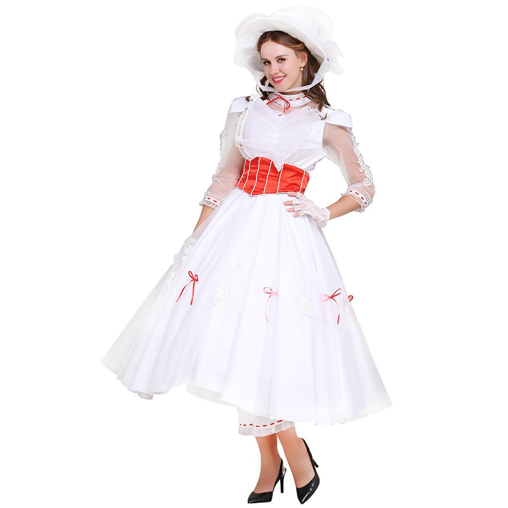 1950s Costumes- Poodle Skirts, Grease, Monroe, Pin Up, I Love Lucy CosplayDiy Womens Costume Dress for Mary Poppins Princess Cosplay $124.00 AT vintagedancer.com