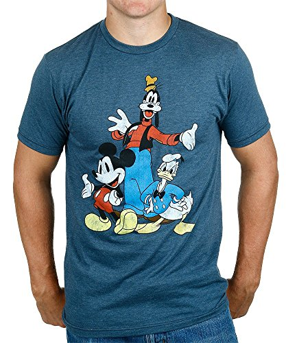 Disney Big Three Trio Mickey Mouse Donald Duck Goofy T-shirt (Extra Large, Heather Navy)