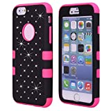 Cuitan 3 in 1 Case Cover for Apple iPhone 6 plus/6s plus (5.5 Inch), Soft Silicone Inner Case and PC Hard Front Back Cover Rhinestone Diamond Bling Full Protective Case Shell Sleeve - Black+Rose Red