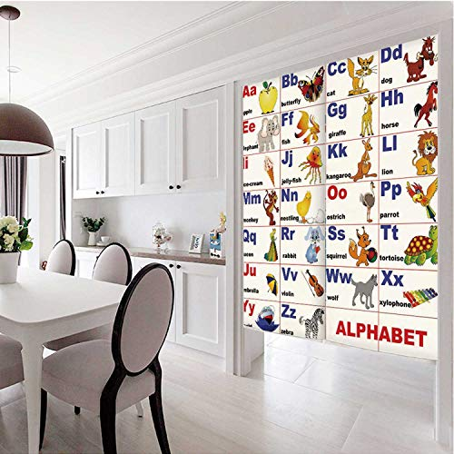 C COABALLA Educational Decorative Door Curtain,Animals Placed on Letter of The Alphabet Teachers Chart Classroom Kindergarten for Bar,43''W x 66''H (Benefits Of Computers In Early Childhood Education)
