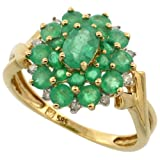 14k Gold Natural Emerald Cluster Ring Oval Center Diamond Accent, 5/8 inch