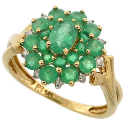 (14k Gold Natural Emerald Cluster Ring Oval Center Diamond Accent, 5/8 inch, size 10)