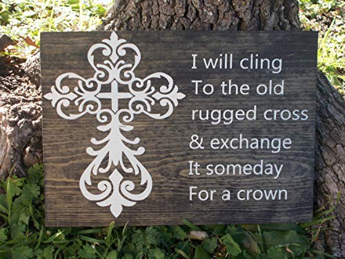 onepicebest I Will Cling to The Old Rugged Cross Wood Painted Hymn Religious Faith Christian Sign Art 10
