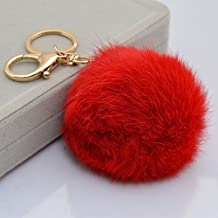 18 K Gold Plated Keychain with Plush Cute Genuine Rabbit Fur Key Chain for Car Key Ring or Bags 0025 (red)