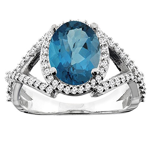 10K White Gold Natural London Blue Topaz Ring Oval 10x8mm Diamond Accent, size 8 Blue Topaz & Diamond Oval Ring