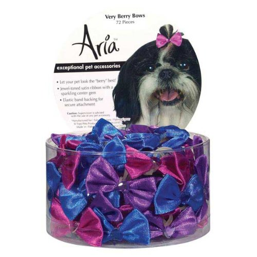 Aria Satin Very Berry Dog Bows Canisters, 1-1 2-Inch, 72-Pack, colors Vary
