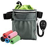 Dog Treat Pouch with Waste Bag Dispenser, Pet Training Treat Bag Snack Pouch with Clip, Waist Belt and Over Shoulder Strap (5 Roll of Poop Bag, 1 Training Clicker Include)