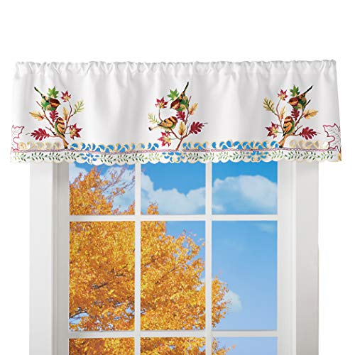 Collections Etc Charming Birds and Fall Leaves Window Valance | Window Treatments | Fall, Autumn Home Décor | for Living…