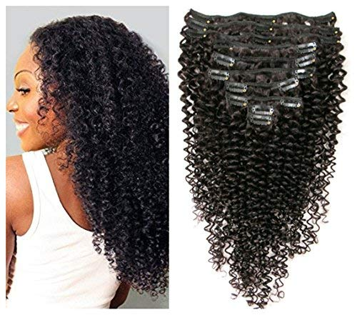 Kinky Curly Clip in Hair Extensions 10Pcs/Set with 21 clips Brazilian Virgin Hair Curly Human Hair Clip in Extensions for Black Woman natural color 120…