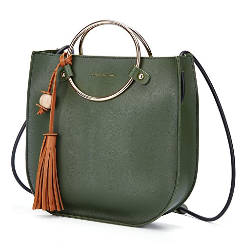 Ring Bag (Women O-Ring Handle Tassel Handbag, Metal Handle Handbags for Women Crossbody Bags,Daypack, Purses And Messenger Bag (Dark green))