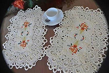 """12 x 18/"""" OB Beige. A /& MT Elegant Venice Lace Linen Placemats Set of 4 pcs"""