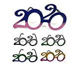 Pack of 12 Novelty 2020 Shaped New Year's Eve Props Party Favor Glitter Plastic Flame Glasses