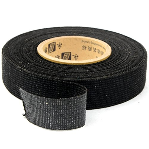 SUIE 19mm x 15M Wiring Loom Harness Adhesive Cloth Fabric Tape Cable Loom Black - Wiring Loom Cloth
