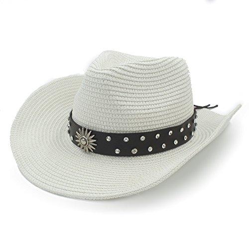 Xinanlongjb Con Fashion Belt Cap para Mujeres Hombre Straw Western Sombrero  de Vaquero Para Caballero Sombrero 5450d048bbf