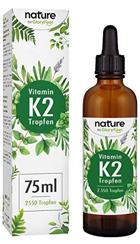 Vitamin K2 MK-7 75ml - 2500 Tropfen mit je 200µg - Höchster All-Trans Gehalt 99,7+% (VitaMK7® von Gnosis) natürlich fermentiert - Laborgeprüft ohne Zusätze hergestellt in Deutschland