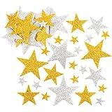 Pegatinas de estrellas con purpurina en color dorado y plateado, perfectas para decoraciones y manualidades infantiles (pack de 150).