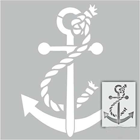 Anchor Sea Ship Pirate Boat Rope Mylar Airbrush Painting Wall Art Crafts Stencil A1 Size Stencil - XLarge