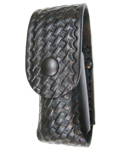 Mace Spray Holder (Boston Leather 5527-3 Chemical OC Pepper Spray Holder. Black Basket Weave Leather, Belt Slot Attachment, and Black Snap Closure. Fits Saber 1.8 oz, DA MK III 2.3 oz, DA MK-3 1.4 oz, Fox FX-22FTS 56 grams, Fox 2 oz Inert Training, Mace 1.59 oz., Mace 45 grams, Mark III and the Mark VI)