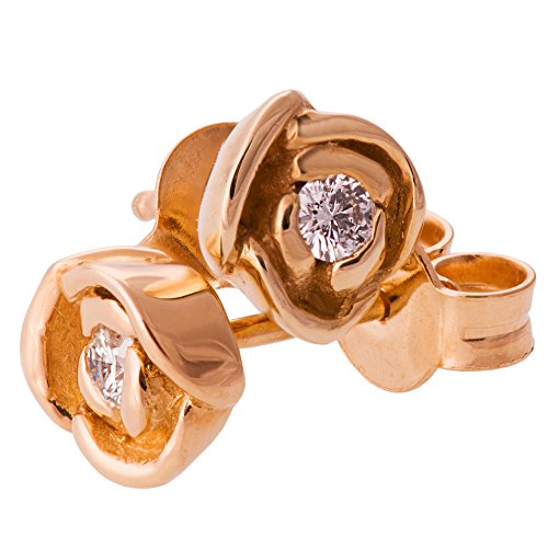 18K Solid Ros Gold Flower Earrings For Women Floral Post Rose Studs Gift by Doron Merav