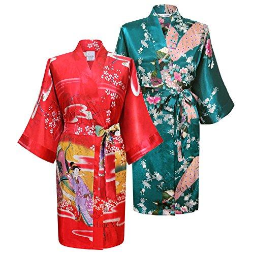 Swhiteme Women's Kimono Robe, Short