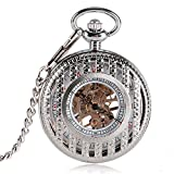 Luxury Pocket Watch, Mechanical Hand Wind Pocket Watches for Men, Engraved Strip Skeleton Pocket Watch Gift