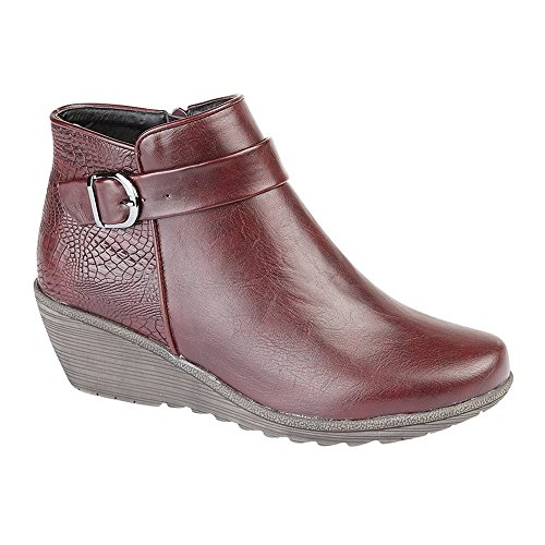Boots Burgundy Womens Wedge Print Reptile Inside Cipriata Rosa Ankle Ladies Zip fWzAFqqdvB