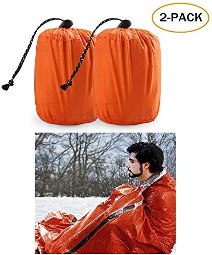 🥇 Zmoon Emergency Sleeping Bag 2 Pack Lightweight Survival Sleeping Bags Thermal Bivy Sack Portable Emergency Blanket Survival Gear for Camping