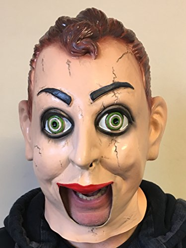 Rubber Johnnies Ventriloquist Dummy Mask, Creepy Puppet with Following Eyes.