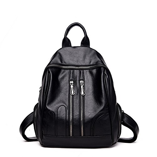 Meaeo Single Backpack Backpack Shoulder All Matches The New School Bag Lady Single Wind, Black And Red Black