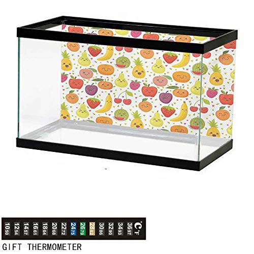 (wwwhsl Aquarium Background,Fruits,Smiling Banana Funny Mulberry Happy Apricot Peach Hearts Lemons Kids Nursery Theme,Multicolor Fish Tank Backdrop 36
