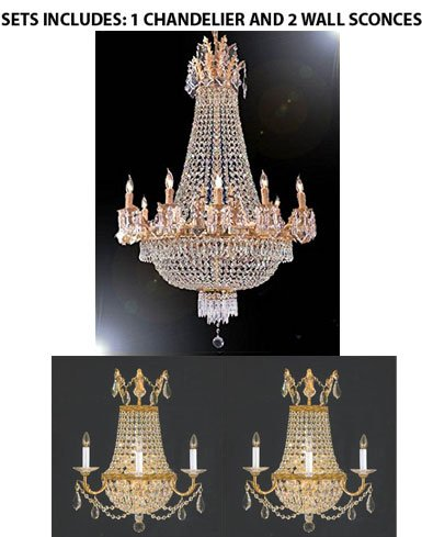 Set Of 3- French Empire Crystal Chandelier Lighting 25x32 12 Lights and 2 Crystal Trimmed Chandelier! Empire Crystal Wall Sconce Lighting W18