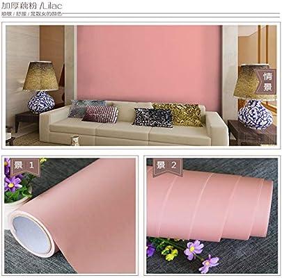 Grueso mate liso papel pintado autoadhesivo color sólido a prueba de agua pegatinas de pared engrosamiento decorativo 藕 rosa: Amazon.es: Bricolaje y herramientas