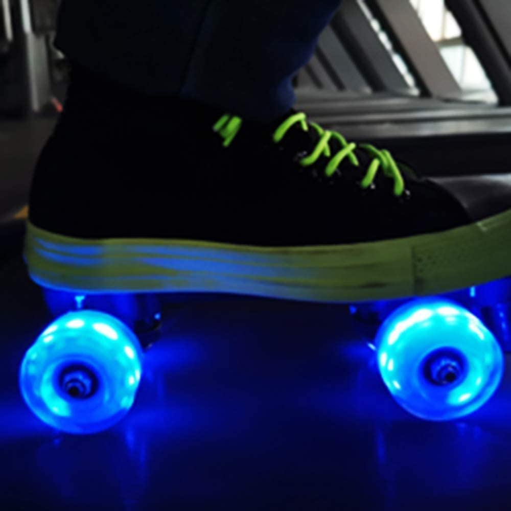 Roller Skate Wheels Luminous Light Up 32mm x 58mm Luminous Light up Roller Skate Wheels Suitable for Double Row Skating and Skateboard with Bearings 4 Pcs Outdoor Roller Skate Wheels Flash