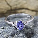 925 Sterling Silver Engagement Ring With Tanzanite, Tinny Diamond Ring, Gift for Women