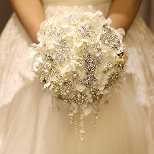 Amazon Com Iffo Brooch Bouquets Diamond Pearl Butterfly Gem Bride