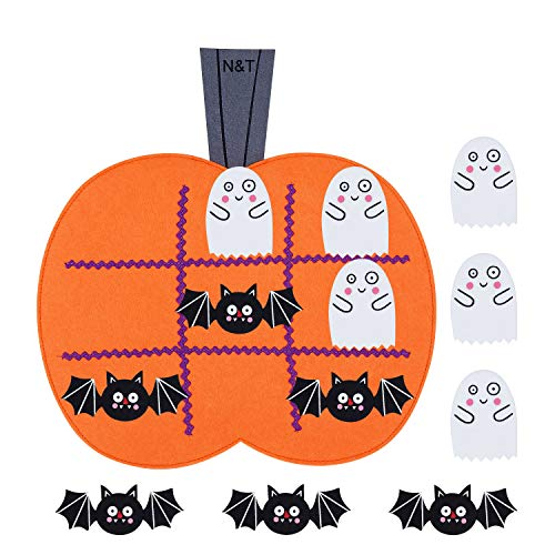 N&T NIETING Halloween Felt Tic Tac Toe Game Pumpkin Board Games for Kids Halloween Harvest Party Decoration Supplies( 6pcs Bats & 6pcs Ghosts)