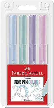 Caneta Ponta Fina, Faber-Castell, Fine Pen, FPB/TPZF, 4 Cores, Tons Pastéis
