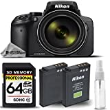Nikon COOLPIX P900 Digital Camera 83x Optical Zoom, Built-In Wi-Fi, NFC, and GPS + 64GB SDHC CLASS 10 MEMORY CARD + Replacement Battery for Nikon EN-EL23 + Deluxe Cleaning Kit For DSLR Cameras