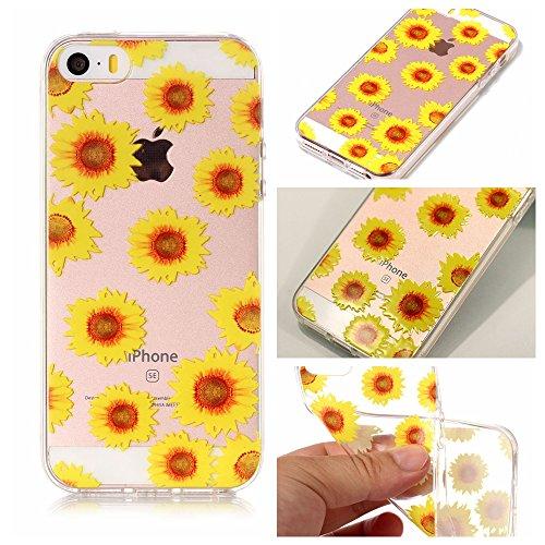 iPhone 5 5S SE Hülle , Leiai Modisch Sonnenblume TPU Transparent Clear Weich Tasche Schutzhülle Silikon Handyhülle Stoßdämpfende Schale Fall Case Shell für Apple iPhone 5 5S SE